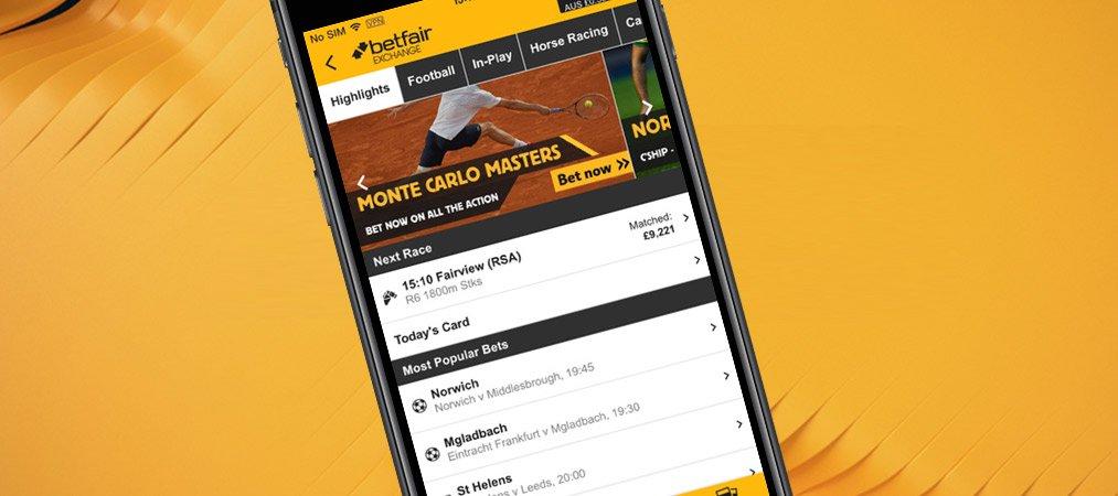 Betfair app and mobile version